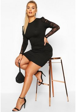 Womens Black Plus Lace Puff Sleeve Bodycon Dress
