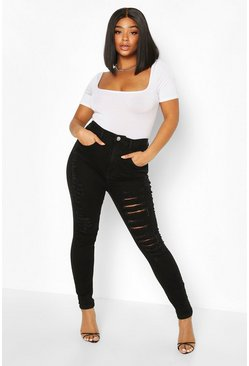 Black Plus Super Distressed High Waist Skinny Jean