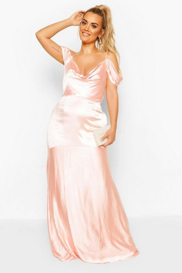 Blush Plus Bridesmaid Satin Cowl Maxi Dress