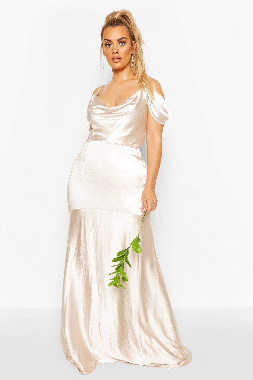 womens plus bridesmaid satin cowl maxi dress - beige - 12