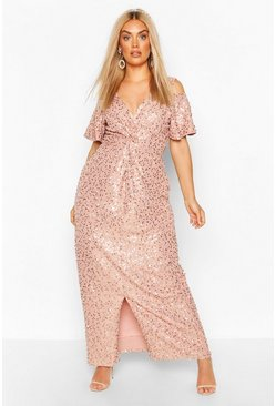 Blush Plus Occasion Sequin Knot Front Maxi Dress
