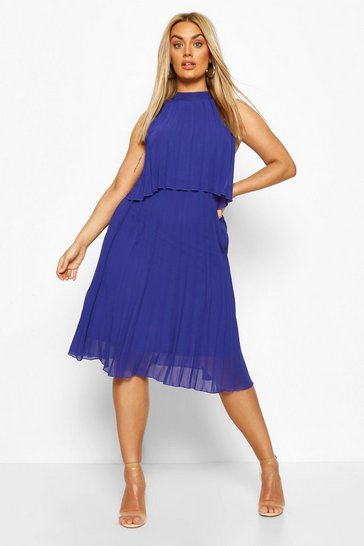 Navy Plus Occasion Pleated Midi Dress