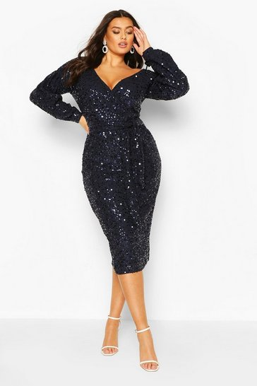 Navy Plus Sequin Off The Shoulder Midi Dress