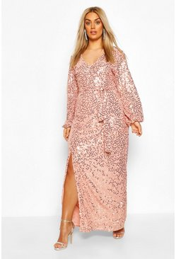 Blush Plus Sequin Plunge Maxi Dress