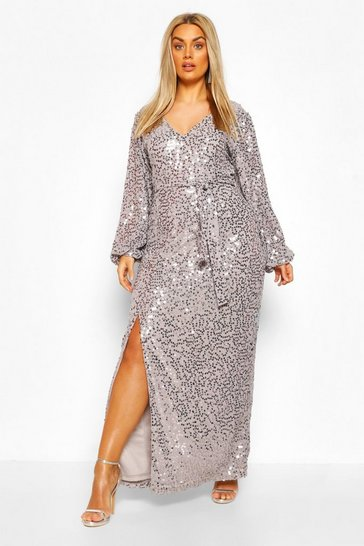 Silver grey Plus Sequin Plunge Maxi Dress