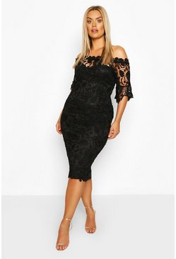 Black Plus Occasion lace Bardot Midi Dress