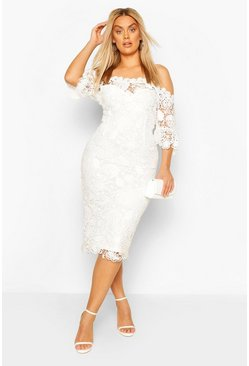 Ivory Plus Occasion lace Bardot Midi Dress