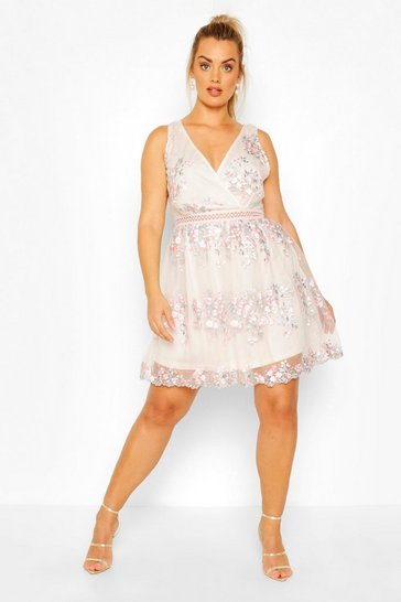 Pink Plus Floral Embroidered Wrap Skater Dress