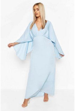 Blue Plus Plunge Kimono Sleeve Maxi Dress