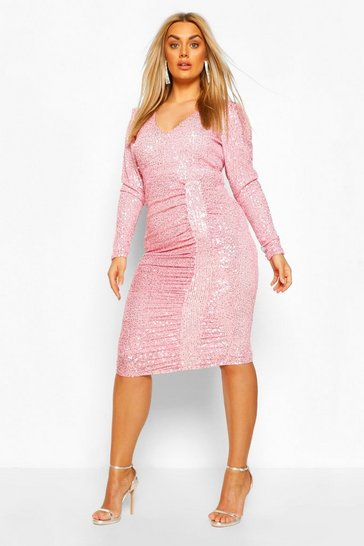 Rose Plus Sequin Puff Sleeve Wrap Dress