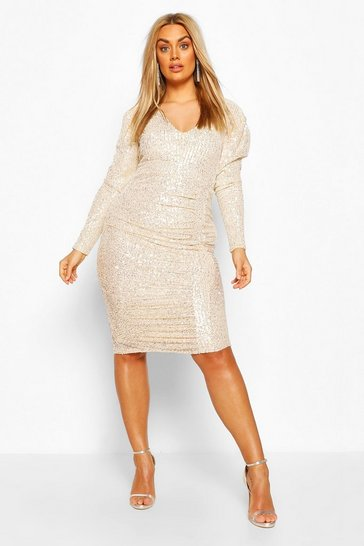 Silver Plus Sequin Puff Sleeve Wrap Dress