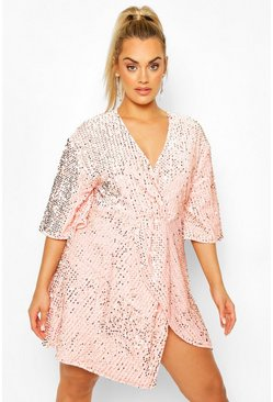 Blush Plus Sequin Twist Front Dress