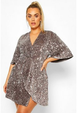 Silver grey Plus Sequin Twist Front Dress