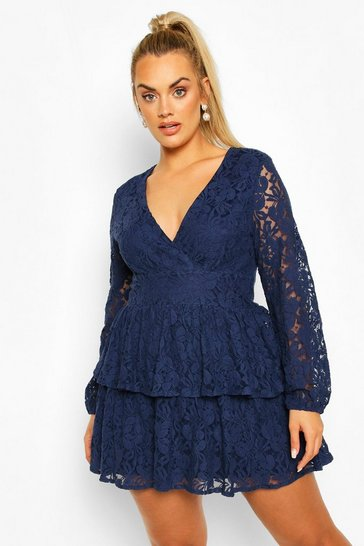 Navy Plus Lace Plunge Ruffle Skater Dress