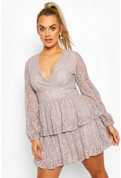 Silver grey Plus Lace Plunge Ruffle Skater Dress