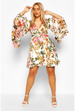 Coral Plus Floral Wide Sleeve Skater Dress