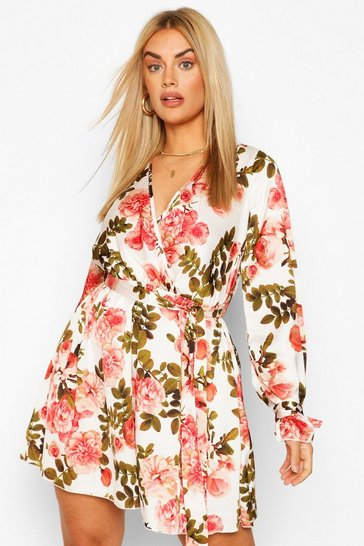 Coral Plus Floral Wrap Tie Waist Skater Dress
