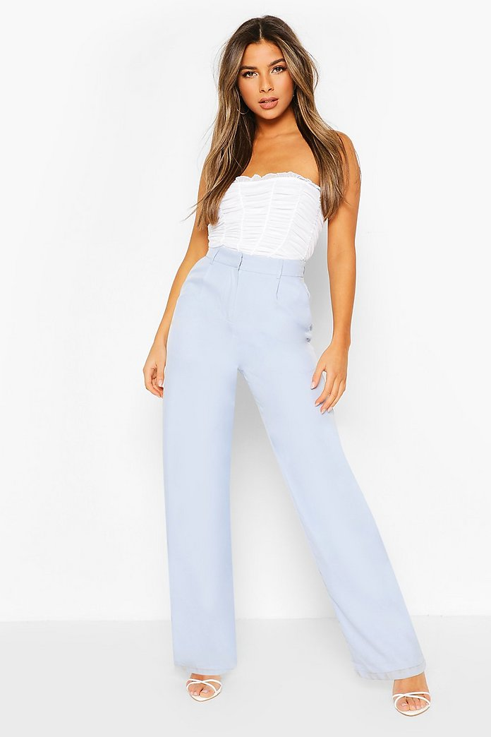 Petite Wide Leg Belted Tailored Trouser   boohoo