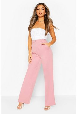Mauve Petite Wide Leg Belted Tailored Trouser