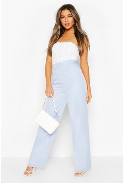 Pastel blue Petite Wide Leg Belted Tailored Pants