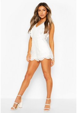 White Petite Frill Edge Broderie Playsuit