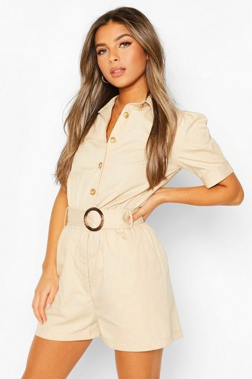Stone Petite Buckle Detail Utility Playsuit