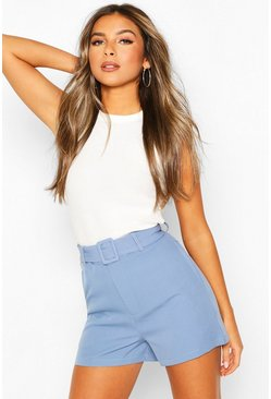 Pale blue Petite Tailored Belted Shorts