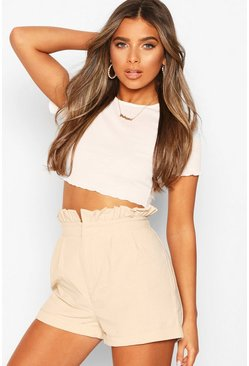 Stone Petite Paperbag Waist Tailored Short