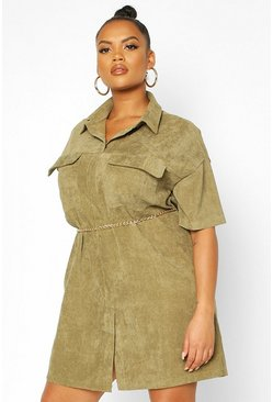 Khaki Plus Cord Shirt Dress