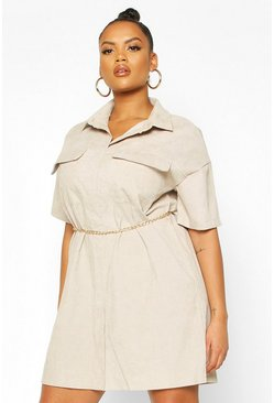 Stone Plus Cord Shirt Dress