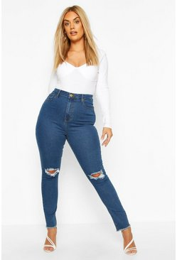 Mid wash Plus Denim Rip Knee & Frayed Hem Skinny Jean