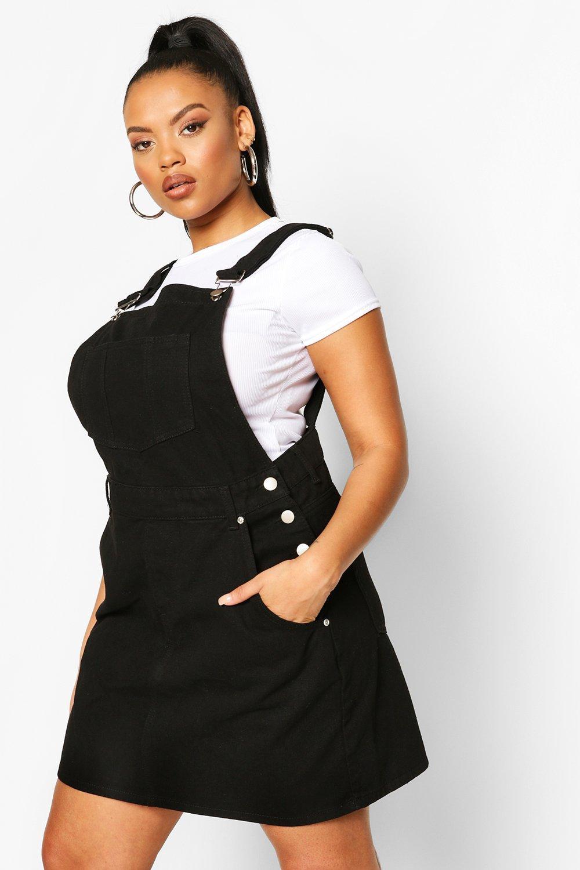 Plus Denim Dungaree Frayed Hem Dress 3