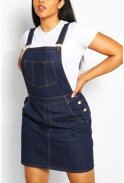 Dark blue Plus Denim Dungaree Frayed Hem Dress