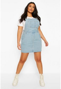 Light wash Plus Denim Dungaree Frayed Hem Pinafore Dress