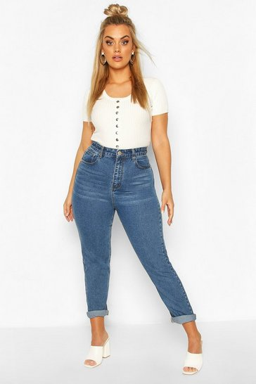 Light blue Plus Light Washed High Waisted Mom Jean