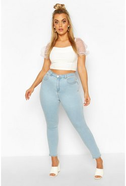 Light blue Plus High Waisted Light Wash Skinny Jeans