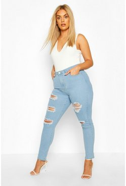 Light wash Plus Distressed Skinny Jeans