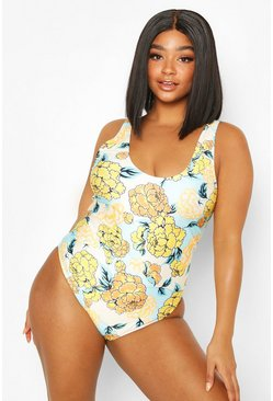 Blue Plus Floral Scoop Neck Swimsuit