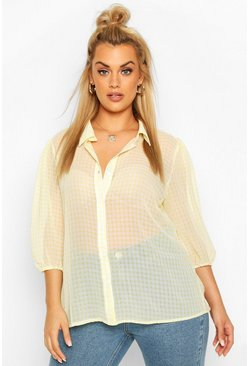 Yellow Plus Sheer Gingham Check Shirt