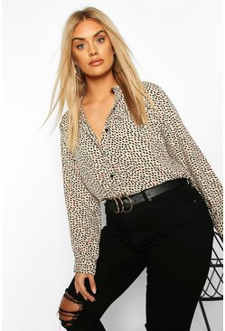 Beige Plus Smudge Print Collarless Shirt