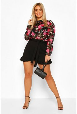 Black Plus Polka Floral Ruffle Sleeve Top