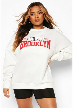 Cream Plus Brooklyn Slogan Oversized Sweat
