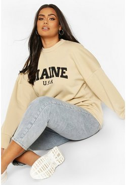 Stone Plus Maine Slogan Oversized Sweat