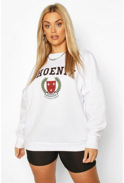 White Plus Phoenix Slogan Oversized Sweat