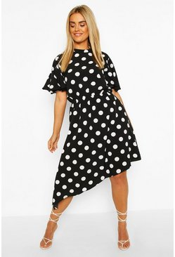 Black Plus Spot Angel Sleeve Midi Dress