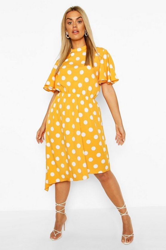 Mustard Plus Spot Angel Sleeve Midi Dress