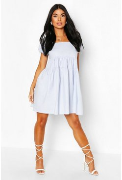 Pale blue Petite Puff Sleeve Open Back Poplin Dress