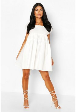 White Petite Puff Sleeve Open Back Poplin Dress