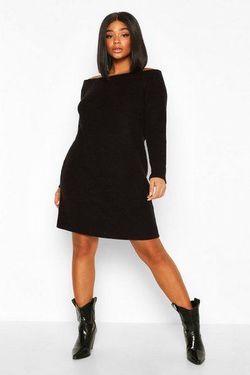 Black Plus Knitted Off The Shoulder Jumper Dress