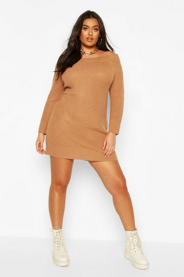 Camel Plus Knitted Off The Shoulder Jumper Dress